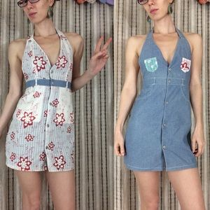 Bloomingdale's Dresses - EVISU Reversable Denim Halter Dress Asian Flowers